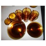 Amber glass dish set -3pc,service for 10 -dinner