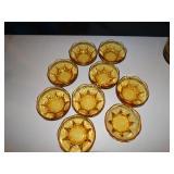 9 Amber glass custard dishes