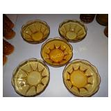 "5 Amber glass serving bowls 3"" x 8"" (1 w/ small"