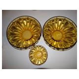 "2 Amber glass chip bowls 3"" x 9"" & 1 matching dip"
