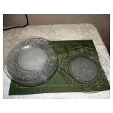 "8 Glass floral dinner plates 10""d"