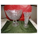 "Swan glass pedestal fruit bowl 9"" & vase 8"""