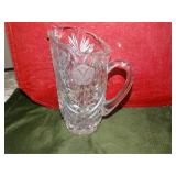 "Heavy glass pitcher 8""h"