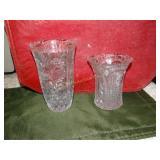 """2 Glass vases (tallest 7""""h)"""