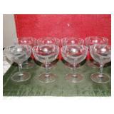 "8 Etched glass pedestal glasses 5""h"
