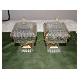 2 Glass squared lidded pedestal candy dishes w/