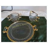 3pc Glass sugar bowl & cream w/ tray - gold
