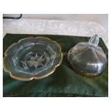 "Glass lidded candy dish w/ gold trim 7""d x 6.5"""