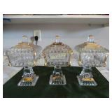 3 Glass squared lidded pedestal candy dishes w/