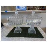 "2 Glass square lidded pedestal candy dishes 13""h"