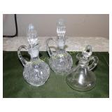 """3 Glass cruets - tallest 7""""h (2 thumb print"""