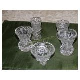4 Glass toothpick holders & 1 small trinket dish