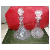 "2 Glass decanters - tallest 12""h"