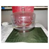 "Etched glass pedestal cake stand w/ cover 12""h"