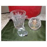 "Glass double handle jar 5""h, glass votive & glass"