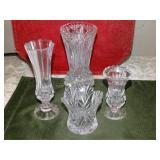 """4 Glass vases - tallest 7.5""""h"""
