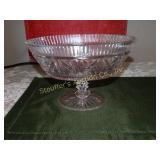 "Glass oval pedestal dish 6.5""h x 10"" x 5.5"""