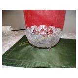 "Glass footed butterfly dish 4""h x 8""d"