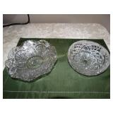 "2 Glass dishes - ruffled edge 8""d & saw tooth"