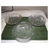 "3 Glass bowls 8""d"