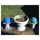 Garden globes, plastic pots, metal yard stakes,