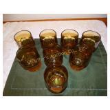 "8 Amber juice glasses 4.5""h"