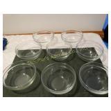 """8 Glass bowls 5""""d arcoroc"""