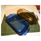 2 Anchor hocking glass loaf pans - blue & brown