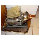 Cookie sheets, muffin tins, loaf pan, colander,