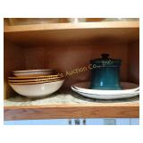 Glass trays, misc. bowls, green canister-contents