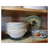 11 Stoneware bowls, enamel storage bowls w/