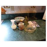 Decorative plates w/ brasslike holders, cruet,