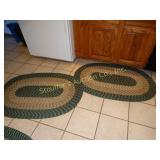 "4 Braided rugs (1 damaged) 50"" x 33.5"",2 runners"