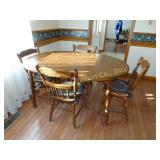 "Kitchen table 5ft (includes 18"" leaf) w/ 4 chairs"