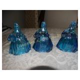 "Vintage 3 Wheaton glass dolls colonial 5""h -3"