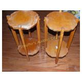 "2 Wood plant stands 22""h (show wear)"