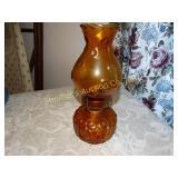 "Vintage amber glass moon & stars oil lamp 12""h"