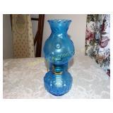 "Vintage blue glass moon & stars oil lamp 12""h"