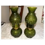 2 Vintage green oil lamps 12""