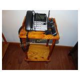 """Wood telephone stand w/ telephone 14"""" x 11"""" x 26"""""""