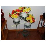 "Green metal ivy plant stand w/3 flower pots 27""h"