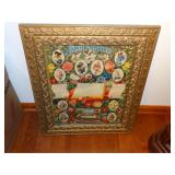 "Antique painted wood framed family record 22"" x"