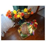 "Silk flowers & 2 wicker basket plant stands 26""h"