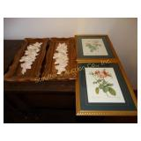 2 Ceramic floral wall hangings & 2 framed floral