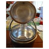 Silver plate ice bucket with 2 quart pyrex glass