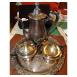 Silver plated tea service, tea pot, creamer,