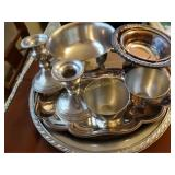 Assorted pewter and silver plated bowls,