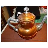 "Copper colored tea pot, #4, 7""t"