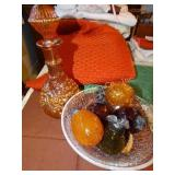 Crakle glass fruit bowl with fruit and carnival