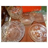 Fostoria & various glass serving bowls